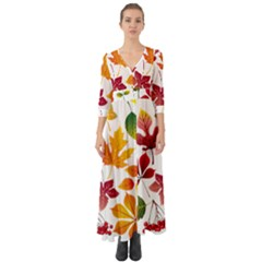Beautiful Autumn Leaves Vector Button Up Boho Maxi Dress
