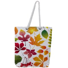 Beautiful Autumn Leaves Vector Full Print Rope Handle Tote (large)