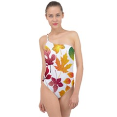 Beautiful Autumn Leaves Vector Classic One Shoulder Swimsuit