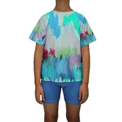 Abstract Background Kids  Short Sleeve Swimwear