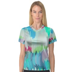 Abstract Background V Neck Sport Mesh Tee