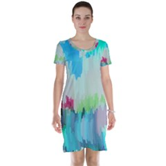 Abstract Background Short Sleeve Nightdress