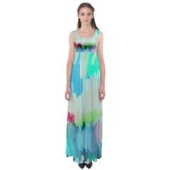 Abstract Background Empire Waist Maxi Dress