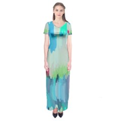 Abstract Background Short Sleeve Maxi Dress