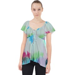 Abstract Background Lace Front Dolly Top