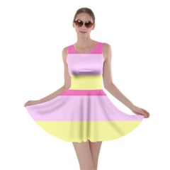 Red Orange Yellow Pink Sunny Color Combo Striped Pattern Stripes Skater Dress