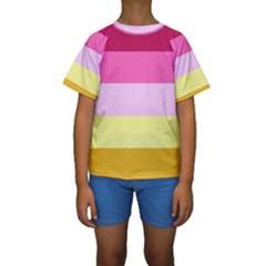 Red Orange Yellow Pink Sunny Color Combo Striped Pattern Stripes Kids  Short Sleeve Swimwear