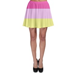Red Orange Yellow Pink Sunny Color Combo Striped Pattern Stripes Skater Skirt