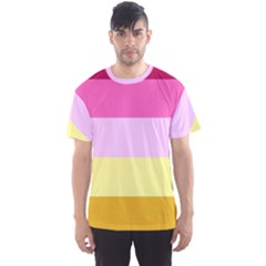 Red Orange Yellow Pink Sunny Color Combo Striped Pattern Stripes Men s Sports Mesh Tee