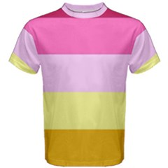 Red Orange Yellow Pink Sunny Color Combo Striped Pattern Stripes Men s Cotton Tee