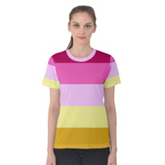 Red Orange Yellow Pink Sunny Color Combo Striped Pattern Stripes Women s Cotton Tee