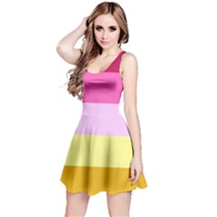 Red Orange Yellow Pink Sunny Color Combo Striped Pattern Stripes Reversible Sleeveless Dress