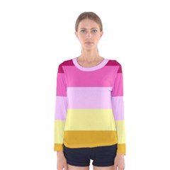 Red Orange Yellow Pink Sunny Color Combo Striped Pattern Stripes Women s Long Sleeve Tee