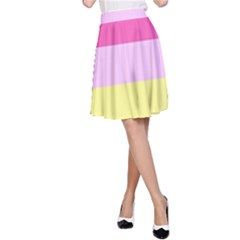 Red Orange Yellow Pink Sunny Color Combo Striped Pattern Stripes A Line Skirt
