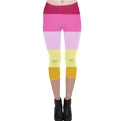 Red Orange Yellow Pink Sunny Color Combo Striped Pattern Stripes Capri Leggings