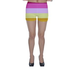 Red Orange Yellow Pink Sunny Color Combo Striped Pattern Stripes Skinny Shorts