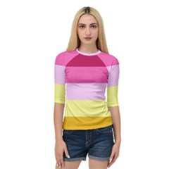 Red Orange Yellow Pink Sunny Color Combo Striped Pattern Stripes Quarter Sleeve Raglan Tee
