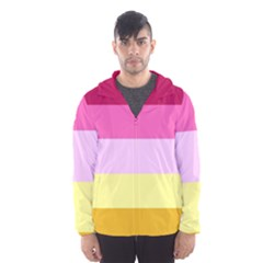 Red Orange Yellow Pink Sunny Color Combo Striped Pattern Stripes Hooded Wind Breaker (men)
