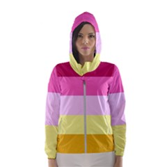 Red Orange Yellow Pink Sunny Color Combo Striped Pattern Stripes Hooded Wind Breaker (women)