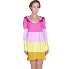 Red Orange Yellow Pink Sunny Color Combo Striped Pattern Stripes Long Sleeve Nightdress