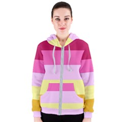 Red Orange Yellow Pink Sunny Color Combo Striped Pattern Stripes Women s Zipper Hoodie