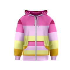 Red Orange Yellow Pink Sunny Color Combo Striped Pattern Stripes Kids  Zipper Hoodie