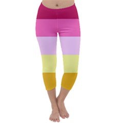 Red Orange Yellow Pink Sunny Color Combo Striped Pattern Stripes Capri Winter Leggings