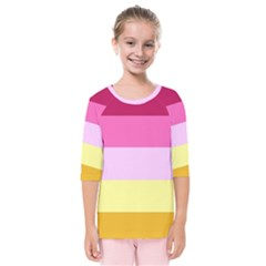 Red Orange Yellow Pink Sunny Color Combo Striped Pattern Stripes Kids  Quarter Sleeve Raglan Tee