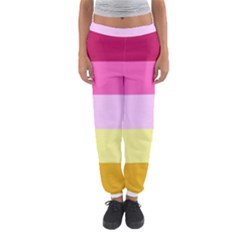 Red Orange Yellow Pink Sunny Color Combo Striped Pattern Stripes Women s Jogger Sweatpants
