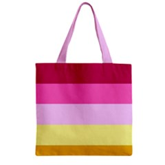 Red Orange Yellow Pink Sunny Color Combo Striped Pattern Stripes Zipper Grocery Tote Bag