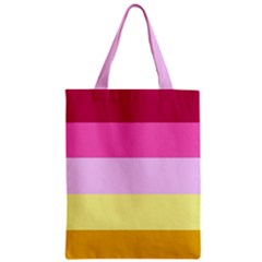 Red Orange Yellow Pink Sunny Color Combo Striped Pattern Stripes Zipper Classic Tote Bag