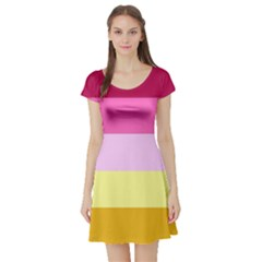 Red Orange Yellow Pink Sunny Color Combo Striped Pattern Stripes Short Sleeve Skater Dress