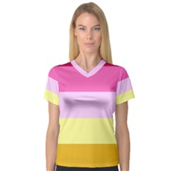 Red Orange Yellow Pink Sunny Color Combo Striped Pattern Stripes V Neck Sport Mesh Tee