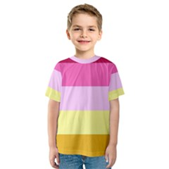 Red Orange Yellow Pink Sunny Color Combo Striped Pattern Stripes Kids  Sport Mesh Tee