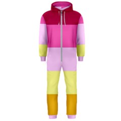 Red Orange Yellow Pink Sunny Color Combo Striped Pattern Stripes Hooded Jumpsuit (men)
