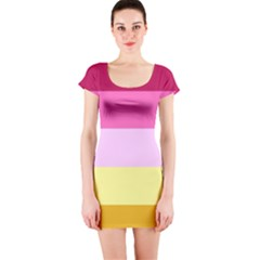Red Orange Yellow Pink Sunny Color Combo Striped Pattern Stripes Short Sleeve Bodycon Dress
