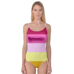 Red Orange Yellow Pink Sunny Color Combo Striped Pattern Stripes Camisole Leotard