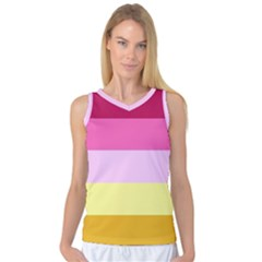 Red Orange Yellow Pink Sunny Color Combo Striped Pattern Stripes Women s Basketball Tank Top