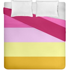 Red Orange Yellow Pink Sunny Color Combo Striped Pattern Stripes Duvet Cover Double Side (king Size)