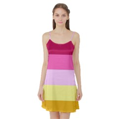 Red Orange Yellow Pink Sunny Color Combo Striped Pattern Stripes Satin Night Slip