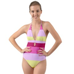 Red Orange Yellow Pink Sunny Color Combo Striped Pattern Stripes Halter Cut Out One Piece Swimsuit
