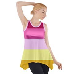 Red Orange Yellow Pink Sunny Color Combo Striped Pattern Stripes Side Drop Tank Tunic