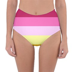 Red Orange Yellow Pink Sunny Color Combo Striped Pattern Stripes Reversible High Waist Bikini Bottoms