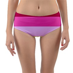 Red Orange Yellow Pink Sunny Color Combo Striped Pattern Stripes Reversible Mid Waist Bikini Bottoms
