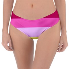 Red Orange Yellow Pink Sunny Color Combo Striped Pattern Stripes Reversible Classic Bikini Bottoms
