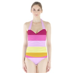 Red Orange Yellow Pink Sunny Color Combo Striped Pattern Stripes Halter Swimsuit