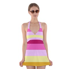 Red Orange Yellow Pink Sunny Color Combo Striped Pattern Stripes Halter Dress Swimsuit