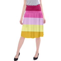 Red Orange Yellow Pink Sunny Color Combo Striped Pattern Stripes Midi Beach Skirt