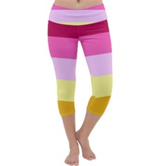 Red Orange Yellow Pink Sunny Color Combo Striped Pattern Stripes Capri Yoga Leggings