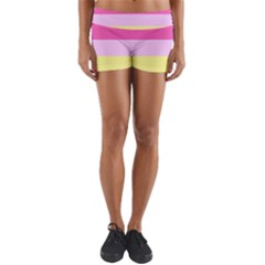 Red Orange Yellow Pink Sunny Color Combo Striped Pattern Stripes Yoga Shorts
